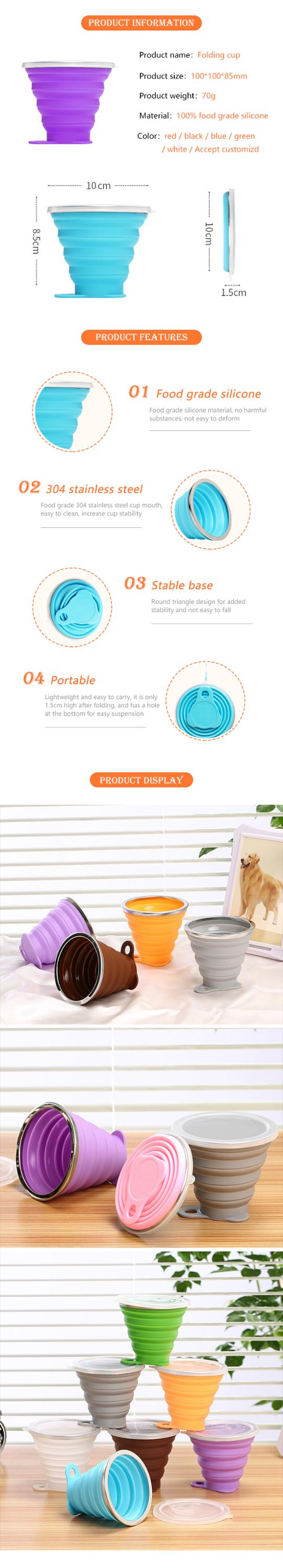 Portable Silicone Collapsible Travel Cup Silicone Folding Camping Cup with Lids