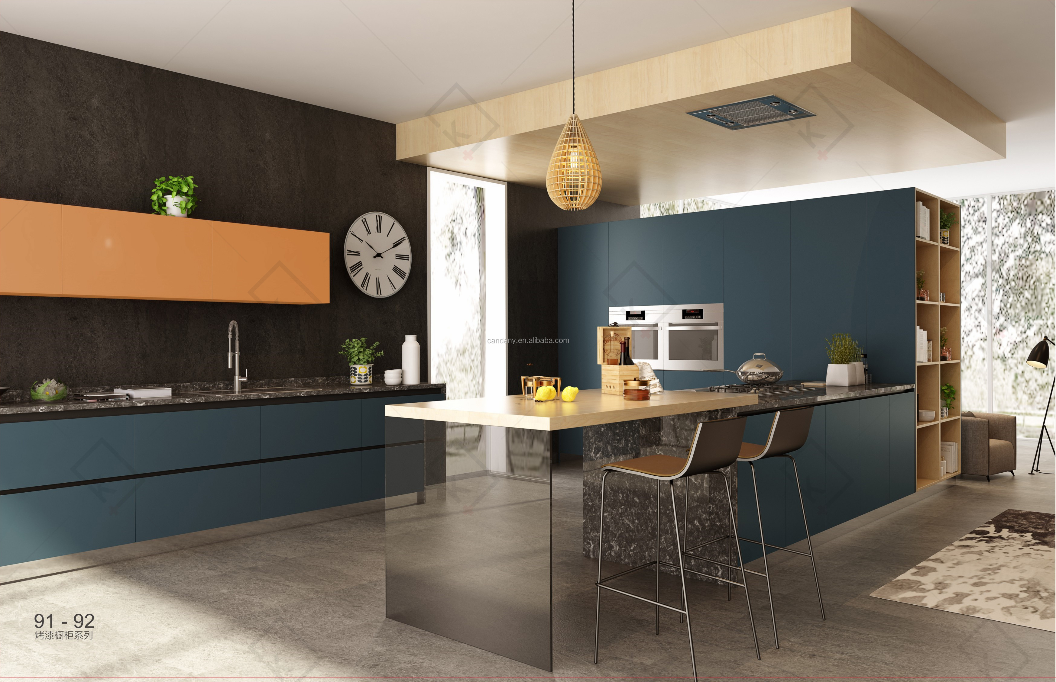New this year's rural style environmentally friendly space-saving lacquer Kitchen cabinet