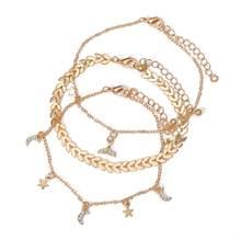 17 км многослойный браслет на лодыжку звезда набор для женщин богемный серебряный цвет хрустальный браслет цепь с плетением «бабочка» ножно...(Китай)