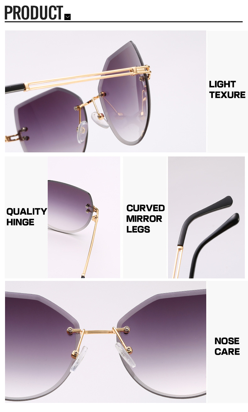 Fashion Trimmed Color Gradient Rimless Cat Eye Women Shades Sunglasses
