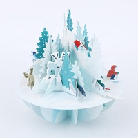 Wholesale Luxury Art Paper Decoration 3D Pop Up Holiday Greeting Christmas Gift Card