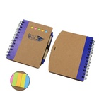Spiral bound Kraft paper cover notepad pen set with sticky notes / notebook set/ Memo pad of customized logo MOQ 50 pcs