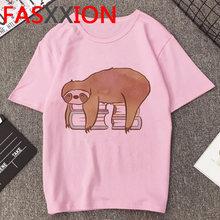 Женская футболка с ленивым животным Kawaii, летний топ 2020, гранж, забавная футболка с надписью Take It Slow, розовая футболка размера плюс, женские фу...(China)