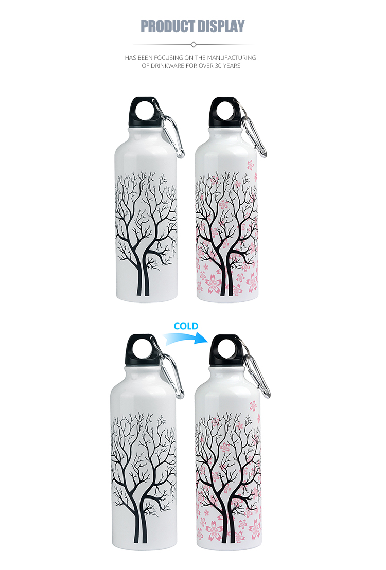 White color changing printing aluminum drinking bottles 500ml