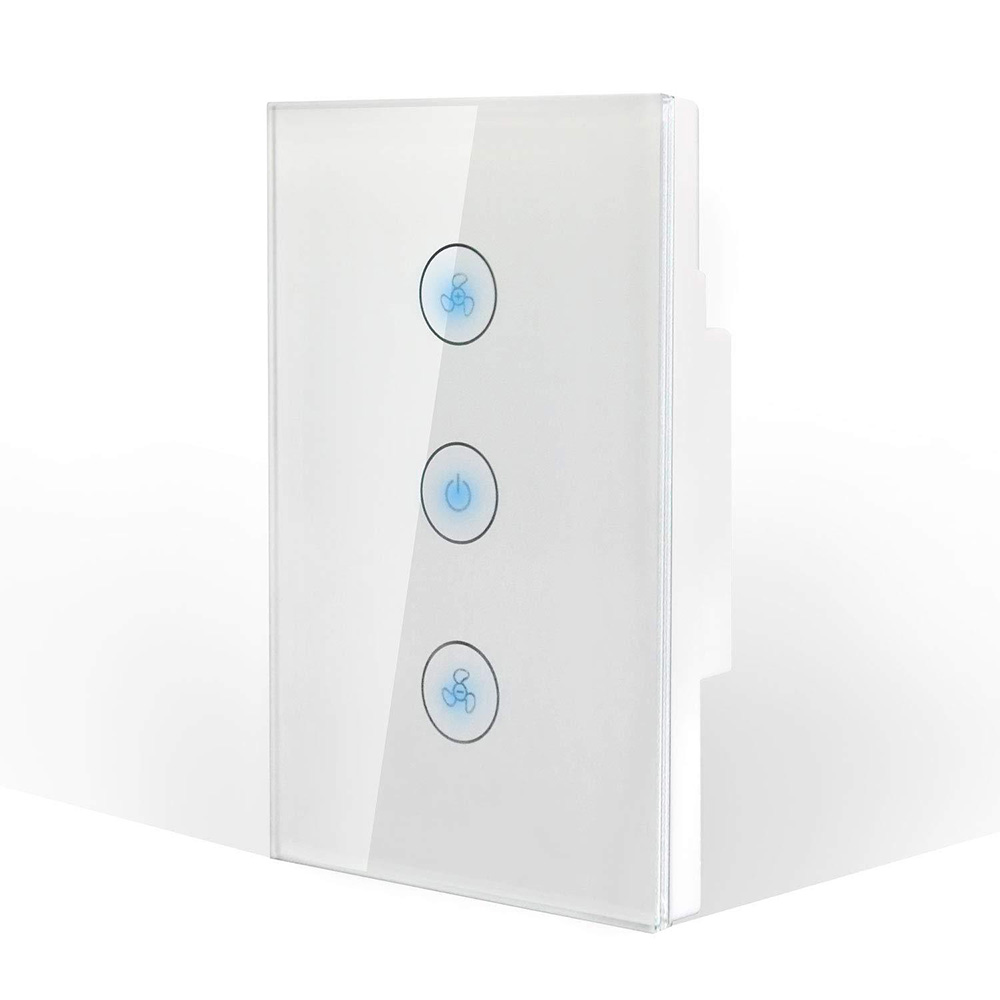 LEDEAST FS03B Tuya Smart Life wifi touch wall switch Google Alexa Voice Operated Control Ceiling Fan Switch