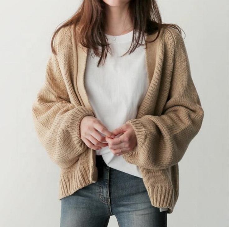 2020 冬のパフスリーブセーターvネック韓国ファッションスタイルオーバーサイズのニットカーディガントップカスタムのセーター
