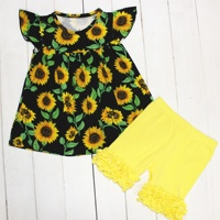 Fashion girls clothing set Boutique milk silk baby children clothes sunflower print kids clothing wholesale