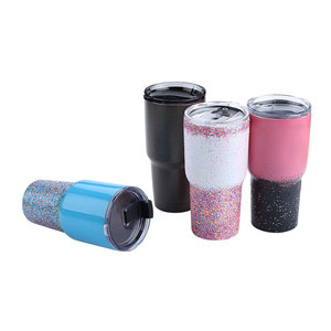 FDA approval custom 30 oz travel coffee vacuum insulated wholesale glitter stainless steel double wall tumbler cups with lid
