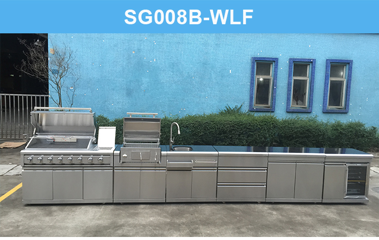 Wholesale French Garden Kitchen Modular Kitchen Cabinet Outdoor Stainless Steel Large Grill Bbq Kitchen Cabinets With Wheel