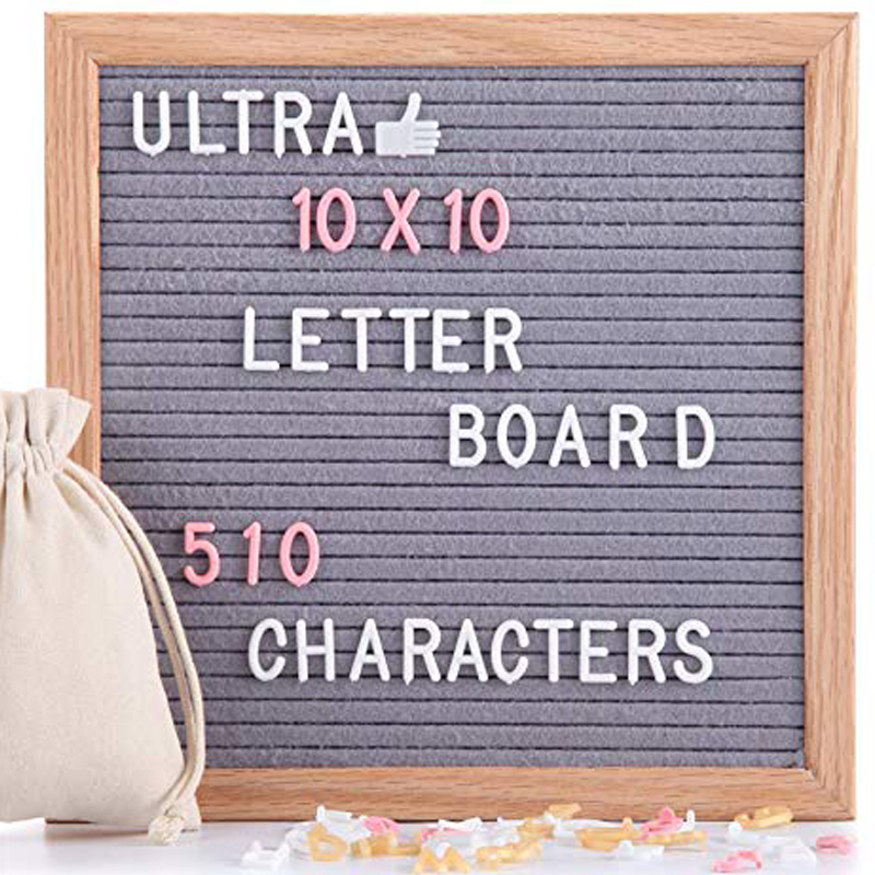 Creative Home Decoration Slotted Felt Letter Board with Pine Wood Frames and Plastic Letters