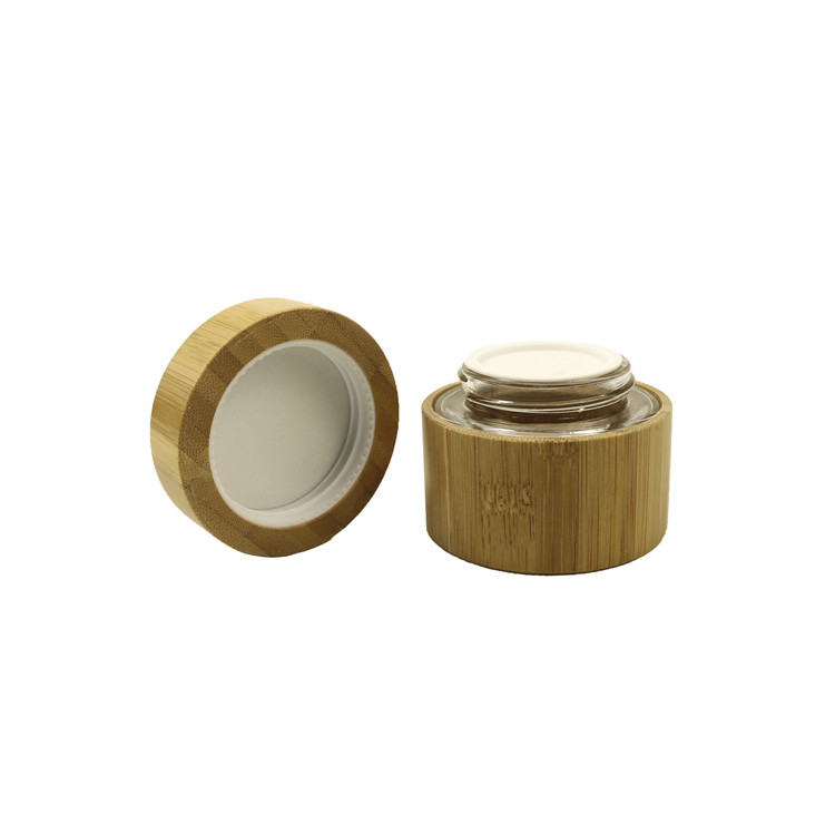New fashion natural products cosmetic jar with bamboo cover round shape 50g 50ml 1.7oz glass inner cosmetic bamboo cream jar lid