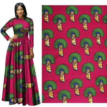 Hot African fabric national style high quality polyester batik geometric pattern for pants dresses