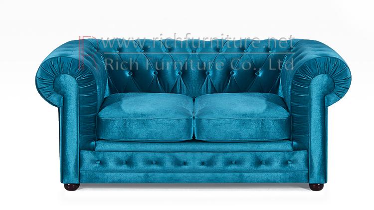 Muebles de sala modernos de terciopelo rosa Chesterfield sofá de 3 plazas de diseño