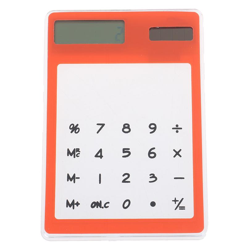 8-разрядный калькулятор на солнечной батарее для студента Сенсорный экран ультра тонкая прозрачная канцелярская четкие научные Школа канц...(Китай)