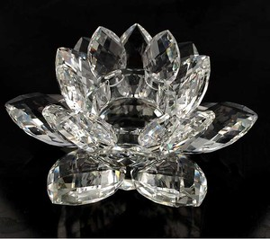 MH-1352 Lotus Crystal Tealight Candlestick clear lotus candle holder