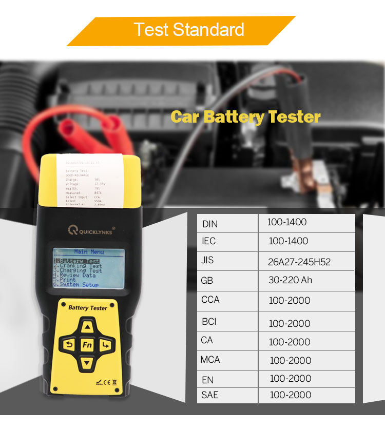 Factory price battery analyzer BA1000 professional 12V car battery tester with print function