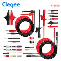 Cleqee-2 P1600D Multimeter Probe Automotive Probe Set IC Test Hook Clip Alligator Clip 4mm Banana Plug Wire Test Leads Kit