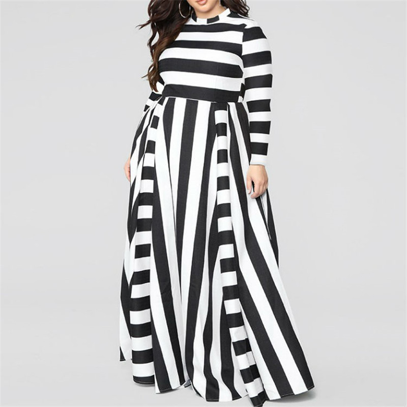 Loose Round neck striped Ankle-Length plus size fall <strong>dresses</strong> women apparel 2019