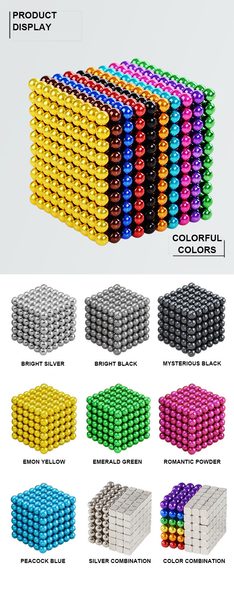 Multicolored Magnetic Balls Magnets Toys,216pcs Magnetic Balls,Custom Ball Color