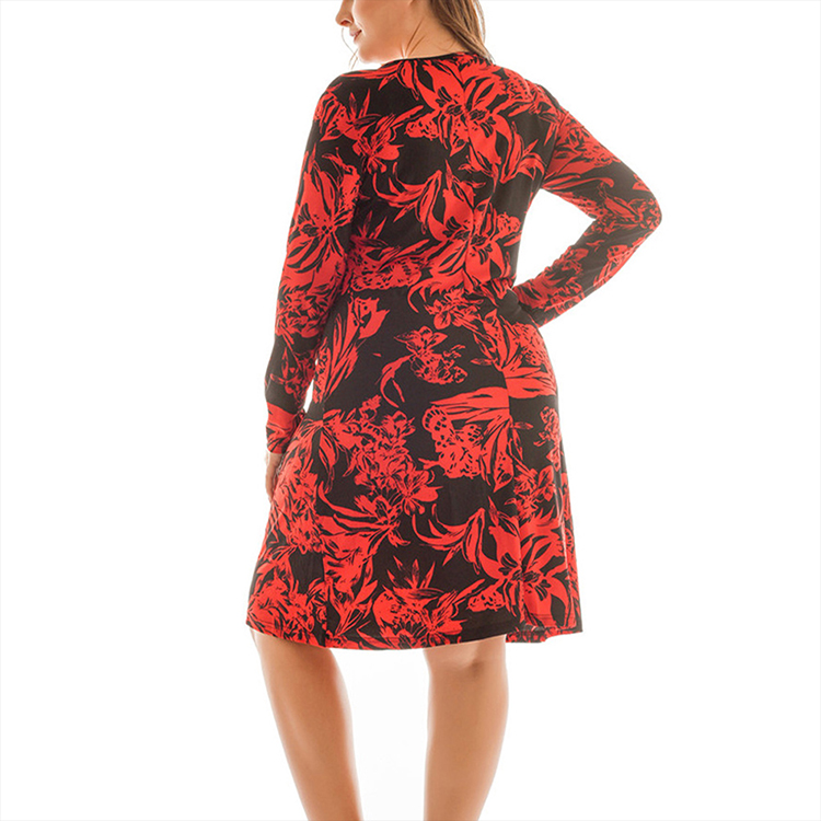 Online Fashion Red Flower Printed Casual Loose Long Sleeve Women Clothing Plus Size Women Dress