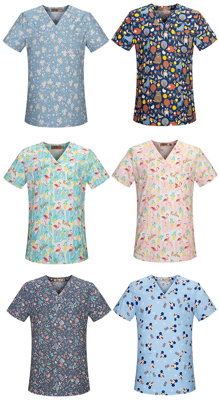 Summer women hospital medical scrub clothes dental clinic beauty salon tops cartoon printing Operating room work nursing uniform