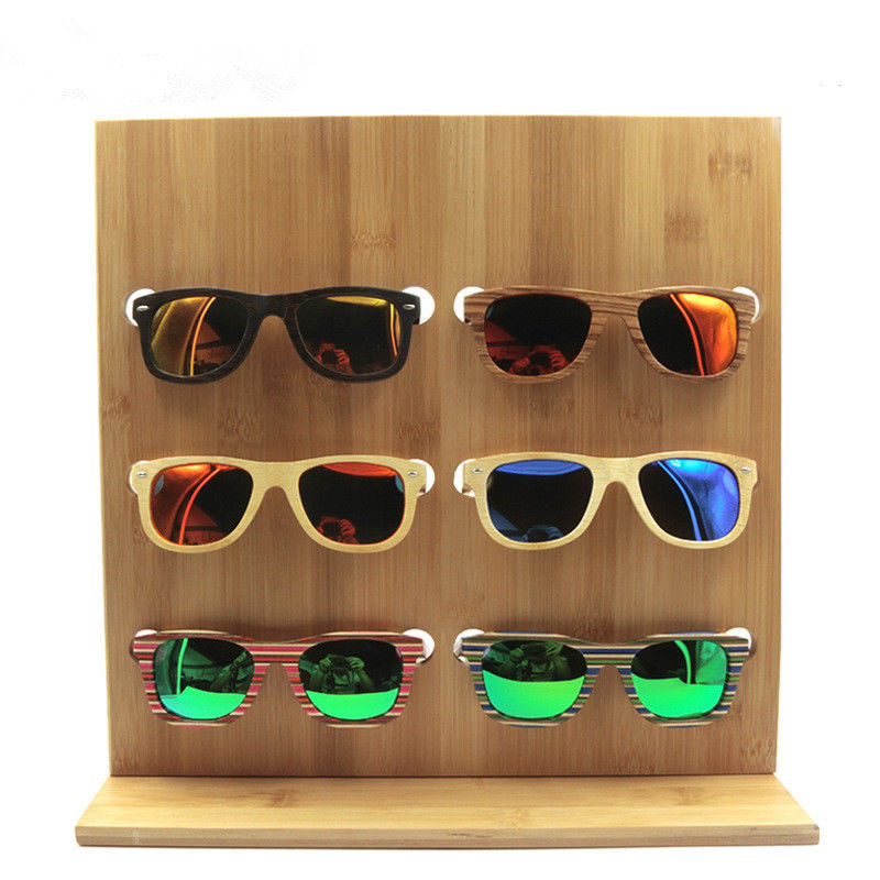 handmade sunglass stand display, wholesale high quality display wooden rack