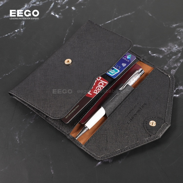 promotional giveaway gift custom PU leather VIP bank credit card holder with button closure