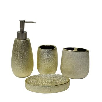 Modern high quality gold electroplated soap dispenser soap dish toothbrush holder 4 pcs ceramic bathroom accessory sets