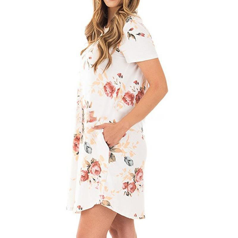 Hot Sell Summer t-Shirt Dress Loose Long t-Shirt Dress Floral Plus Size Printed Dresses Women Lady
