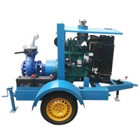 Trailer mounted high pressure 37kw diesel engine pump sucking fresh water for farm