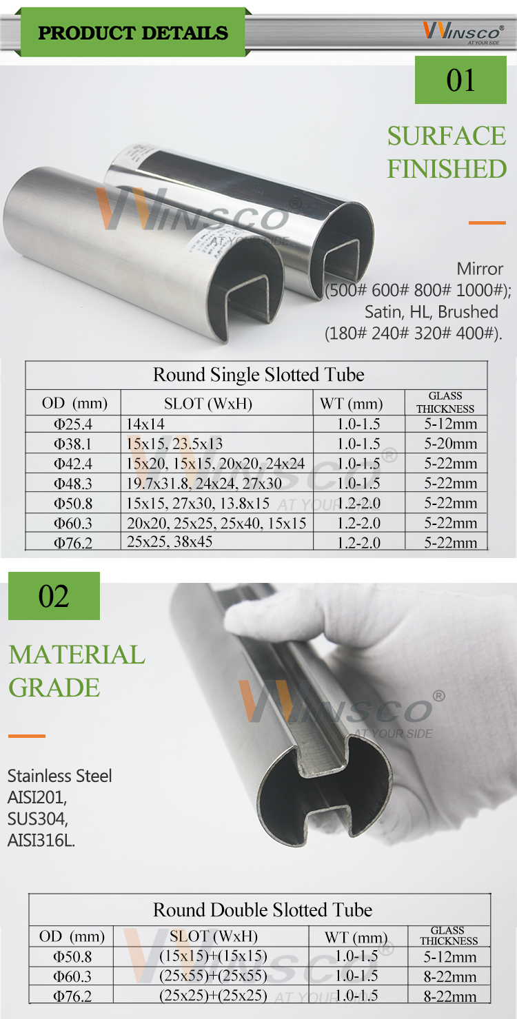 Factory price INOX 304 316 201 pipe Stainless Steel Round Groove Tube with Single Slot section