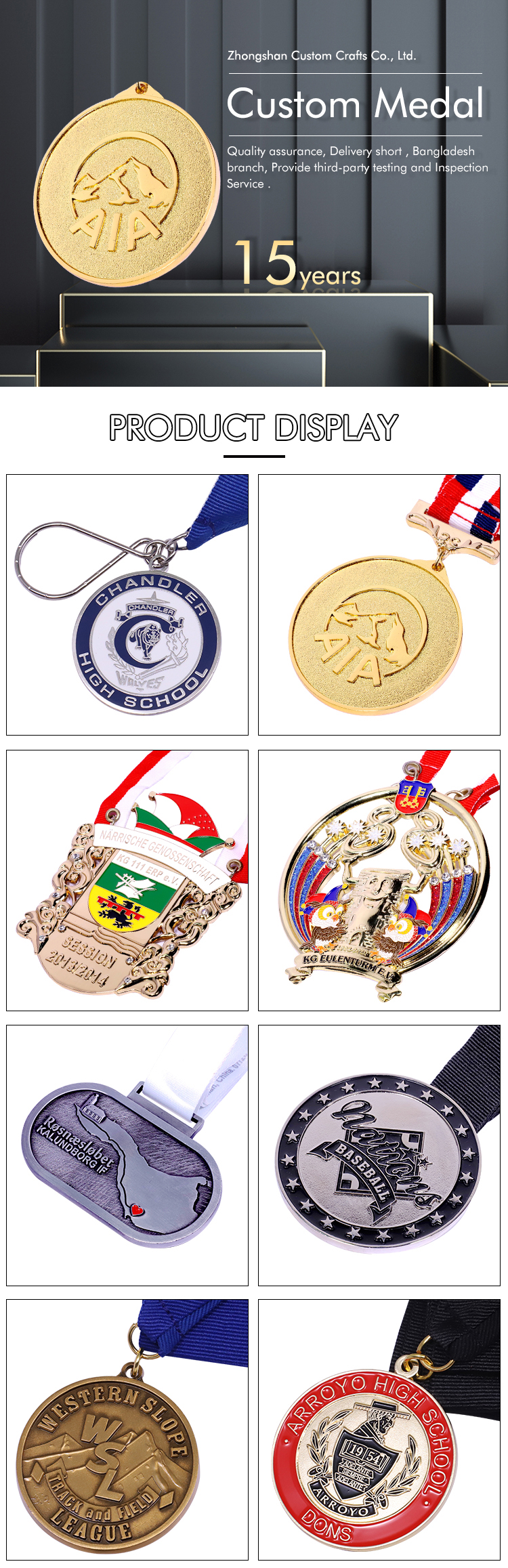 Manufacturer Wholesale Promotion Custom colorful medal Logo Metal Antique Sports Holder Medal