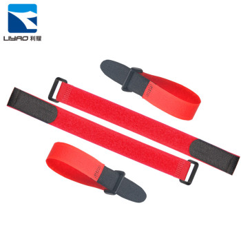 Custom Logo Printed Colorful Reusable Battery Strap Nylon Soft Hook And Loop Cable Ties With Plastic Buckle