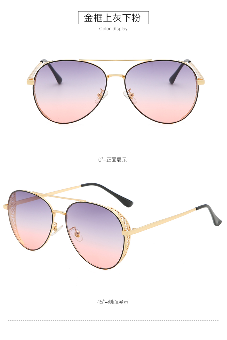 THREE HIPPOS 2020 womens glasses Metal Frame Decorative pattern design Sunglasses 88035 UV400 Gradient color Shades aesthetic Sun Glasses