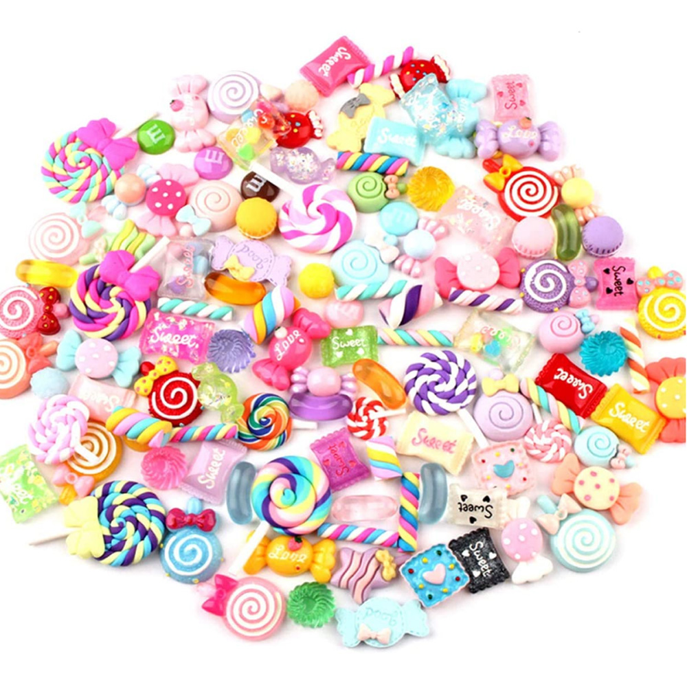 BX600 Holicolor 30pcs Slime Charms Cute Set Mixed Assorted Resin Flatback Slime Beads Making Supplies for DIY Craft Making