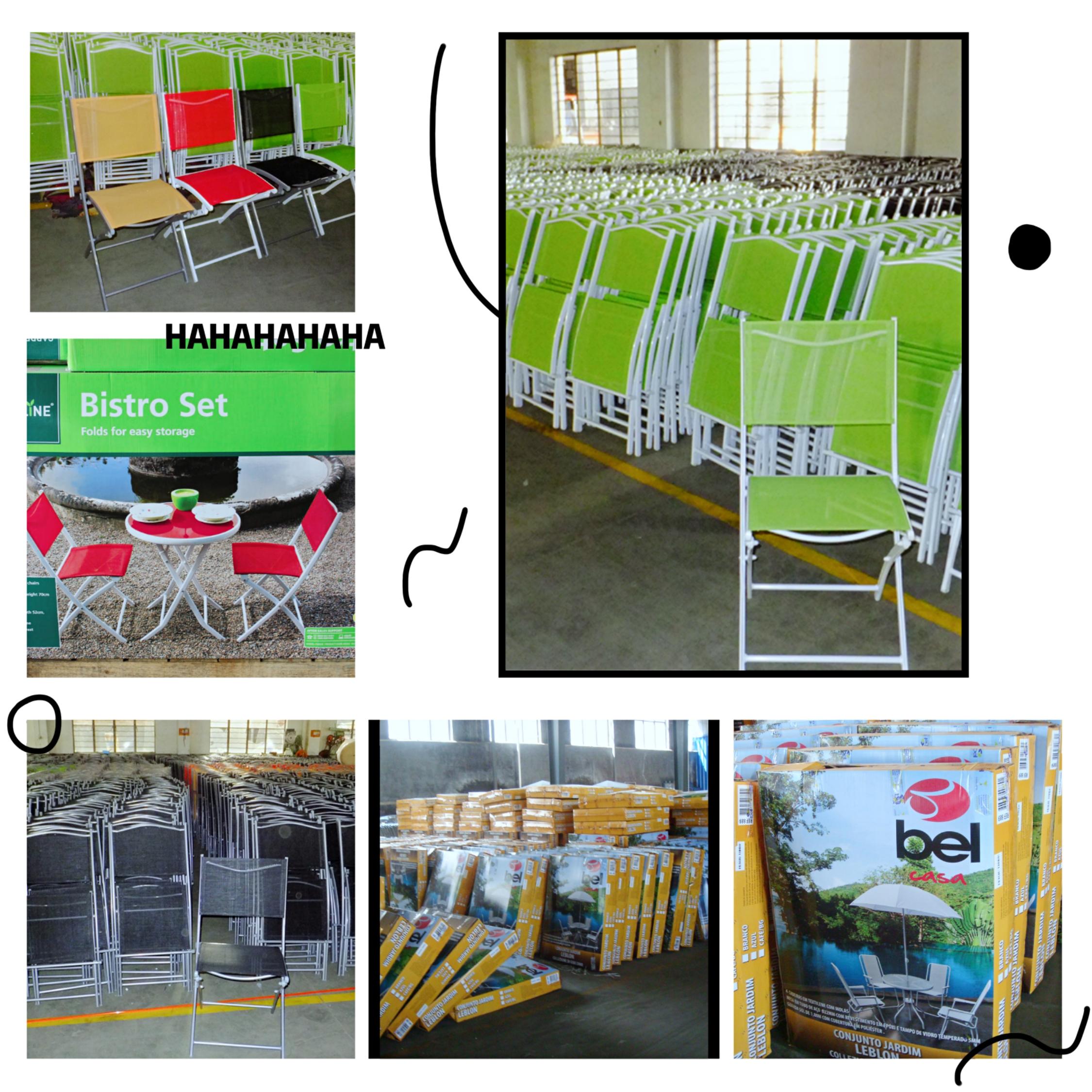 Outdoor 5-Piece Folding Teslin Furniture with Umbrella, Seats 4  Chair Patio Dining Furniture Set
