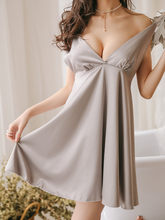 Женское атласное Ночное платье Angle Wing, пикантное атласное платье на тонких бретельках с вышивкой «стринги» и открытой спиной, одежда для дом...(Китай)