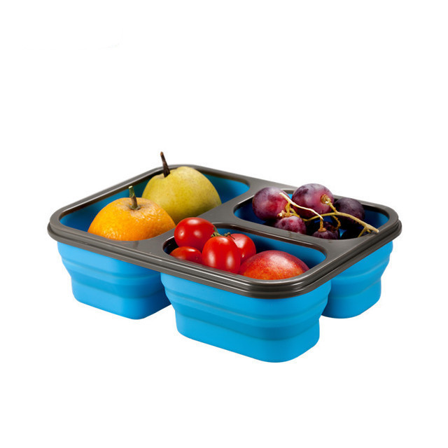 Amazon hot sale food grade silicone 3 Compartment with Lids Lunch Box