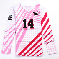 Long sleeve women volleyball jersey with custom name and number