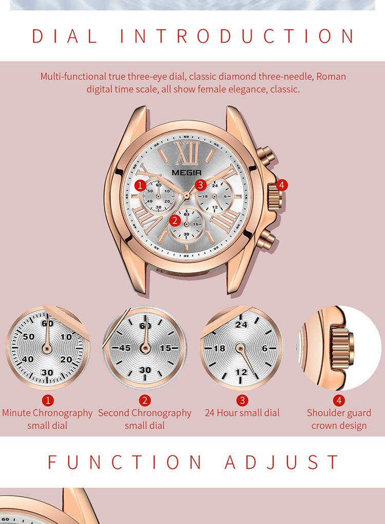 MEGIR 2019 Mới Sang Trọng Da Xem Phụ Nữ Nữ Thương Hiệu Hàng Đầu Chronograph Quartz Đồng Hồ Đeo Tay Lady Relogio Femininos Đồng Hồ 2114 Màu Đỏ