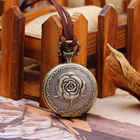 Leather Watch LIKA Ancient Genuine Leather Cord Bronze Bracelet Rose Embossed Round Pendant Pocket Watch