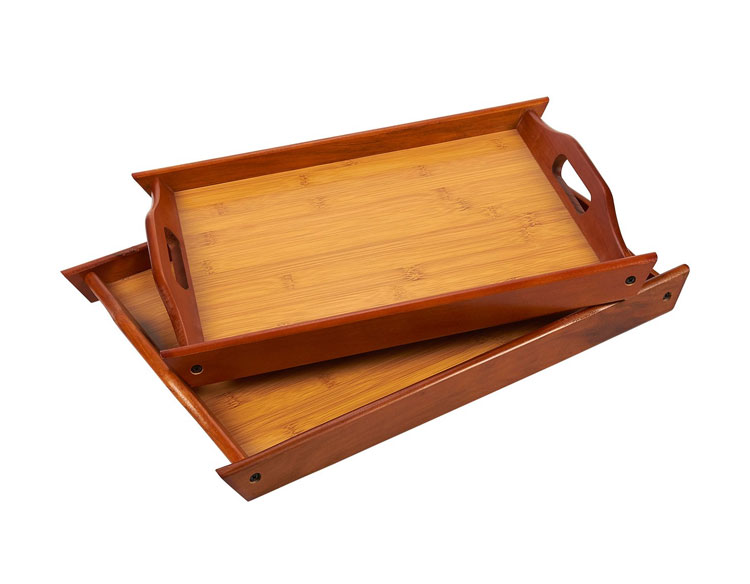 Large and Small Wood Brown Serving Tray With Handles 11