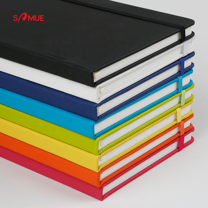 custom printed A5 size hardcover pu leather notebook With Elastic Band