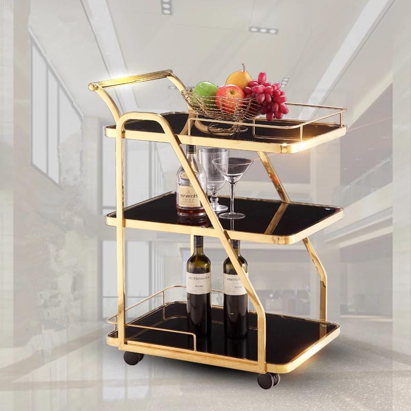 Luxury metal glass tea wine food drink salon serving trolley bar cart for hotel restaurant banquet wedding party