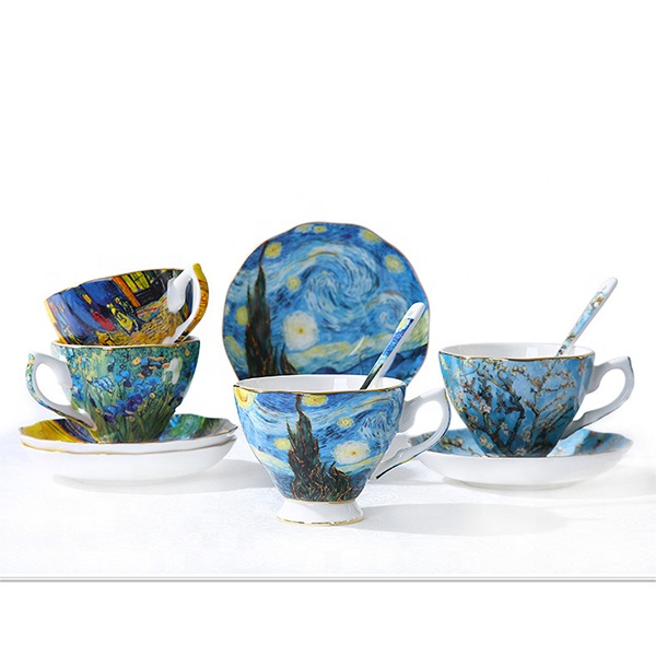 Hot Sale Ceramic Coffee Mug Set With Vincent van Gogh Painting