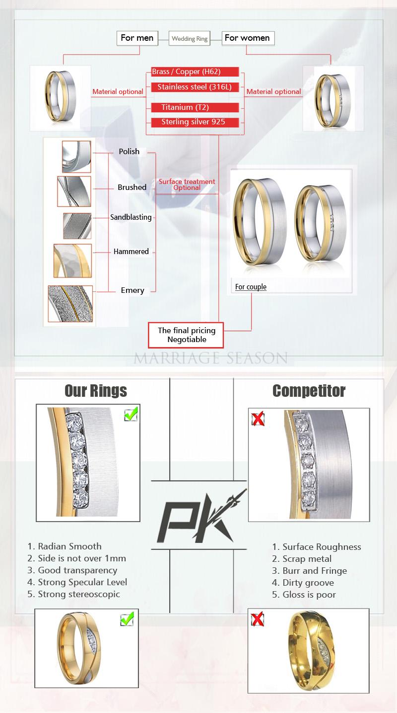 customized titanium wedding bands ring titanium black jewelry engagement rings for women couple