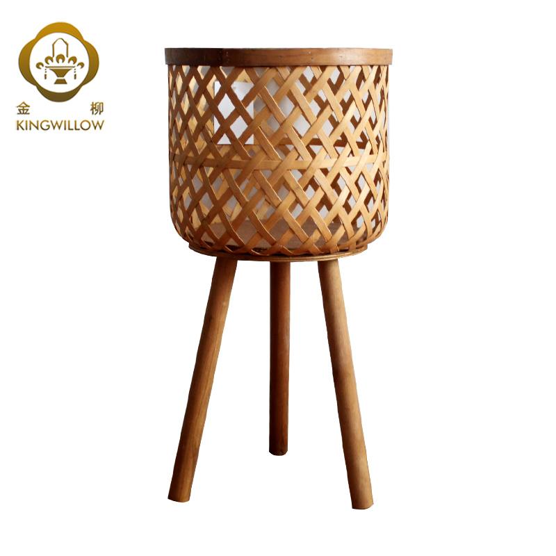 Kingwillow handgemaakte geweven kaarshouder voor home decor houten en bamboe staande vloer lantaarn