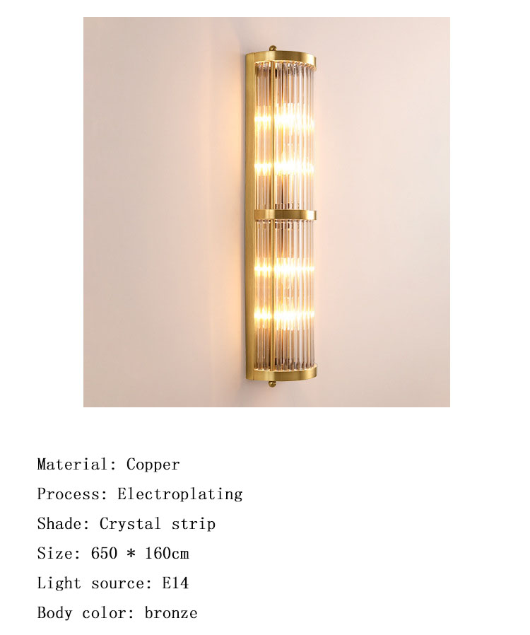 American light luxury golden crystal glass hotel decorative wall light