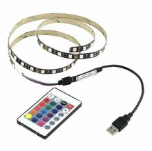 Colour Changing USB <span class=keywords><strong>TV</strong></span> PC Back Sfeerverlichting, remote controlled USB 5V led backlight strip voor <span class=keywords><strong>TV</strong></span>