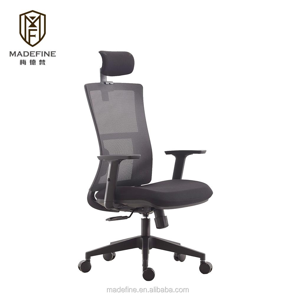 Noir Haut Dossier MDF602A Moderne Vis ascenseur chaise de bureau avec base en nylon Ergonomique Maille Gestionnaire Chaise de Bureau Du Personnel